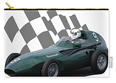 Carry-all Pouch featuring the photograph Vintage Racing Car And Flag 5 by John Colley