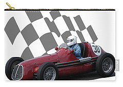 Carry-all Pouch featuring the photograph Vintage Racing Car And Flag 6 by John Colley