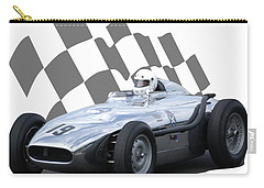 Carry-all Pouch featuring the photograph Vintage Racing Car And Flag 7 by John Colley