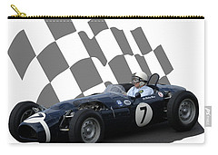 Carry-all Pouch featuring the photograph Vintage Racing Car And Flag 8 by John Colley
