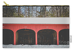 Carry-all Pouch featuring the photograph Vintage Red Carriage Barn Lyme by Edward Fielding