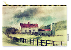 Carry-all Pouch featuring the digital art Vintage Red Roof Barn by Lois Bryan