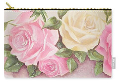 Vintage Roses Shabby Chic Roses Painting Print Carry-all Pouch