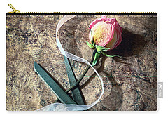 Vintage Scissors, Dried Pink Rose And Ribbon Carry-all Pouch