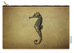 Vintage Seahorse Illustration Carry-all Pouch by Peggy Collins