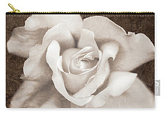 Carry-all Pouch featuring the photograph Vintage Sepia Rose Flower by Jennie Marie Schell