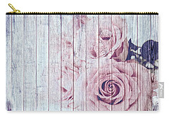 Vintage Shabby Chic Dusky Pink Roses On Blue Wood Effect Background Carry-all Pouch