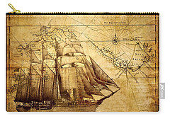 Carry-all Pouch featuring the mixed media Vintage Ship Map by Lucia Sirna