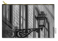 Vintage Street Lamp In Lisbon Portugal In Black And White  Carry-all Pouch
