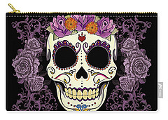 Vintage Sugar Skull And Roses Carry-all Pouch