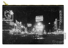 Carry-all Pouch featuring the photograph Vintage Times Square At Night Black And White by John Stephens