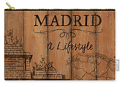 Carry-all Pouch featuring the painting Vintage Travel Madrid by Debbie DeWitt