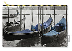 Vintage Venice In Black, White, And Blue Carry-all Pouch