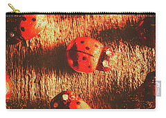 Vintage Wooden Ladybugs Carry-all Pouch by Jorgo Photography - Wall Art Gallery