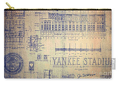 Vintage Yankee Stadium Blueprint Signed By Joe Di Maggio Carry-all Pouch by Peter Gumaer Ogden Collection