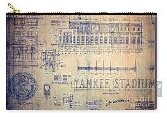 Vintage Yankee Stadium Blueprint Carry-all Pouch
