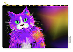 Carry-all Pouch featuring the painting Violet Dizzycat by DC Langer