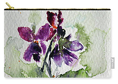 Carry-all Pouch featuring the painting Violet Iv by Kovacs Anna Brigitta