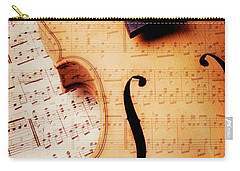 Violin And Musical Notes Carry-all Pouch by Garry Gay