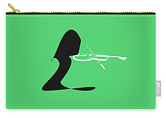 Violin In Green Carry-all Pouch by David Bridburg
