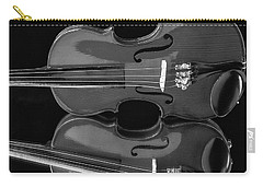 Violin Reflectiuon In Black And White Carry-all Pouch by Garry Gay
