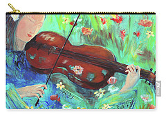Violinist In Garden Carry-all Pouch