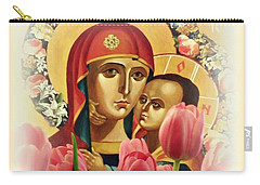 Virgin Mary And Tulips      Carry-all Pouch by Sarah Loft