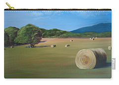 Carry-all Pouch featuring the painting Virginia Hay Bales by Donna Tuten