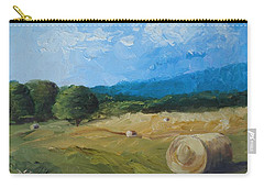 Carry-all Pouch featuring the painting Virginia Hay Bales II by Donna Tuten