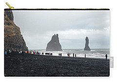 Carry-all Pouch featuring the photograph Visitors In Reynisfjara Black Sand Beach, Iceland by Dubi Roman