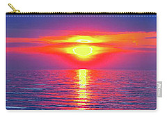 Vivid Sunset With Emerson Quote - Vertical Format Carry-all Pouch by Ginny Gaura