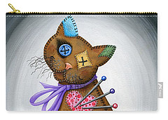 Carry-all Pouch featuring the painting Voodoo Cat Doll - Patchwork Cat by Carrie Hawks