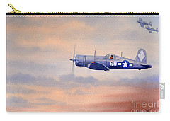 Carry-all Pouch featuring the painting Vought F4u-1d Corsair Aircraft by Bill Holkham