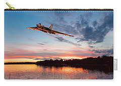 Carry-all Pouch featuring the digital art Vulcan Low Over A Sunset Lake by Gary Eason