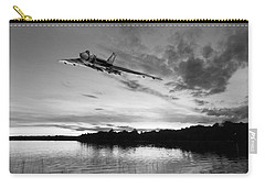Carry-all Pouch featuring the digital art Vulcan Low Over A Sunset Lake Sunset Lake Bw by Gary Eason
