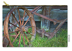 Carry-all Pouch featuring the photograph Wagon Wheel And Fence by David and Carol Kelly