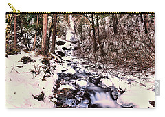 Carry-all Pouch featuring the photograph Wahkeena Falls In Ice by Jeff Swan