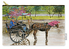 Carry-all Pouch featuring the painting Waiting For Rider Jakarta Indonesia by Melly Terpening