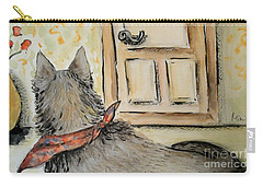 Carry-all Pouch featuring the painting Waiting For The Humans by Maria Langgle