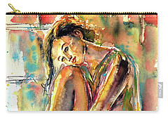 Carry-all Pouch featuring the painting Waiting For You by Kovacs Anna Brigitta