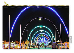 Carry-all Pouch featuring the photograph Walk Along The Floating Bridge, Willemstad, Curacao by Kurt Van Wagner
