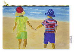 Carry-all Pouch featuring the painting Walk On The Beach by Rodney Campbell