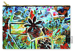 Carry-all Pouch featuring the mixed media Walking Amongst The Monarchs by Genevieve Esson