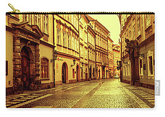 Carry-all Pouch featuring the photograph Walking In Prague. Series Golden Prague by Jenny Rainbow