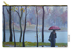 Carry-all Pouch featuring the painting Walking In The Rain by Elena Oleniuc