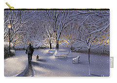 Carry-all Pouch featuring the painting Walking In The Snow by Veronica Minozzi