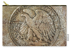 Carry-all Pouch featuring the digital art Walking Libery Half Dollar Reverse by Randy Steele