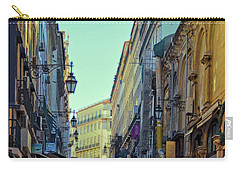 Carry-all Pouch featuring the photograph Walkway Over The Street - Lisbon by Mary Machare