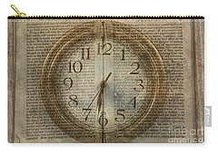 Carry-all Pouch featuring the digital art Wall Clock And Book Double Exposure by Randy Steele