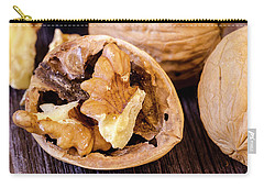 Walnuts On Wooden Table Carry-all Pouch